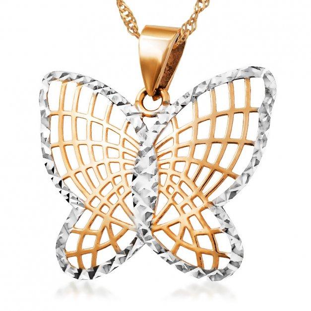 Złoty Łańcuszek z Zawieszką 333 Motylek GRAWER ZZ59