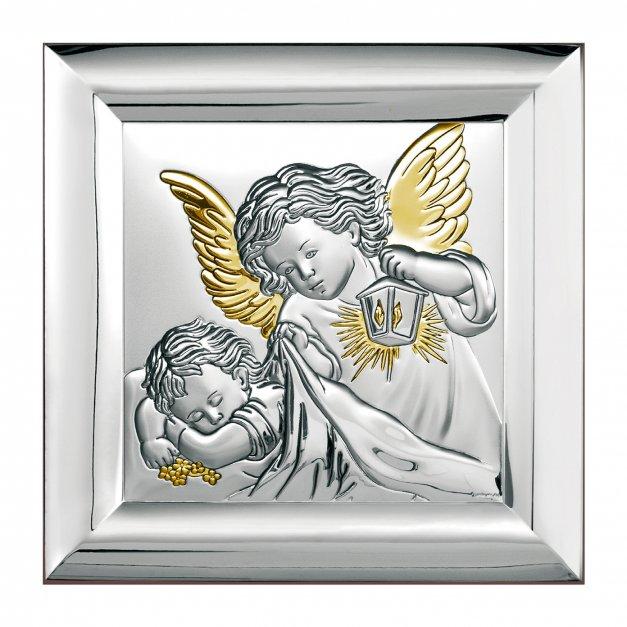 Obrazek Srebrny Na Chrzciny Anioł Stróż GRAWER