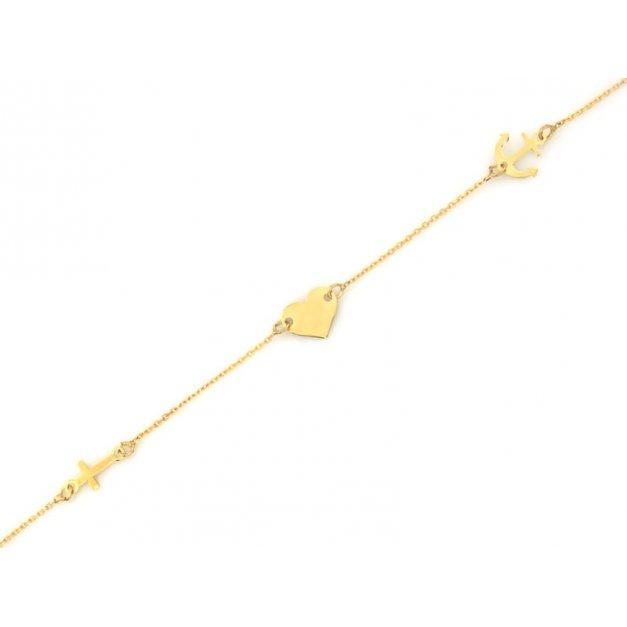 Złota bransoletka 585 łańcuszkowa serce prezent