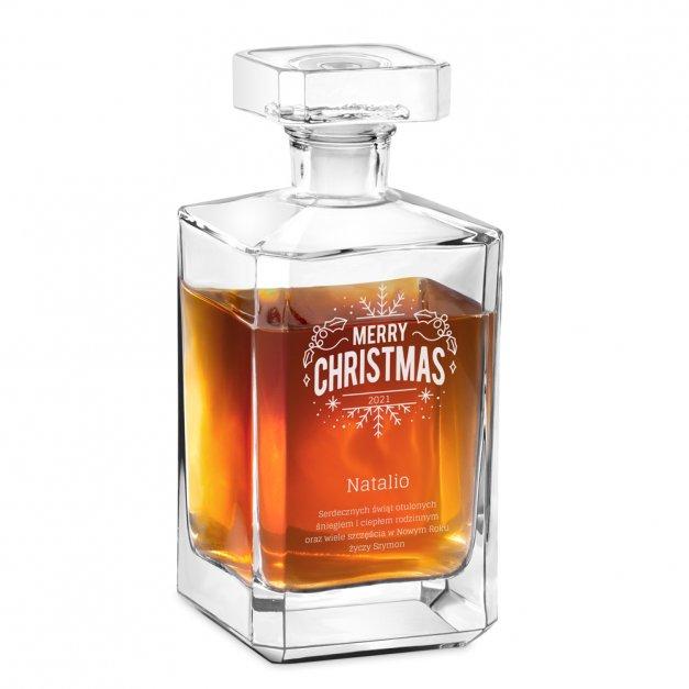 Karafka szklana burbon z grawerem dla niej na święta