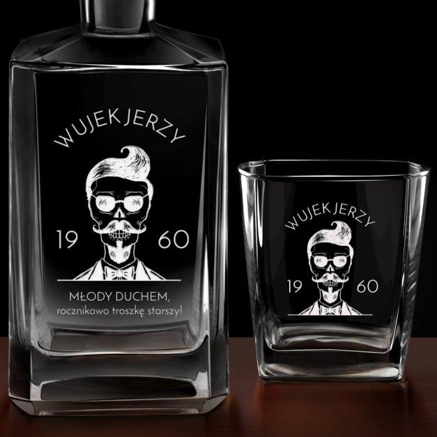 Zestaw Karafka Burbon z 6 Szklankami Grawer Hipster