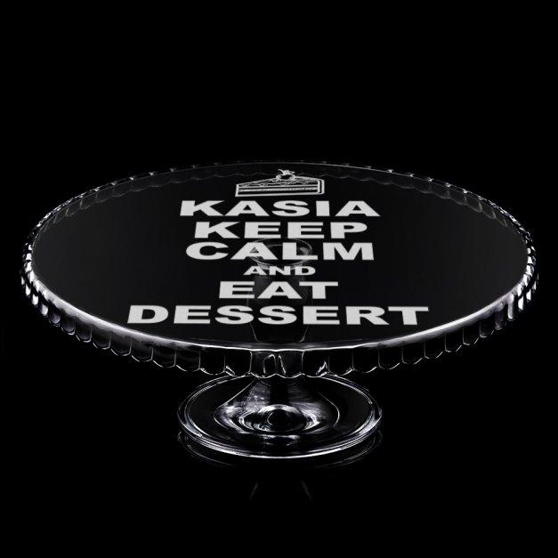 Grawerowana Patera Szklana do Ciasta Keep Calm