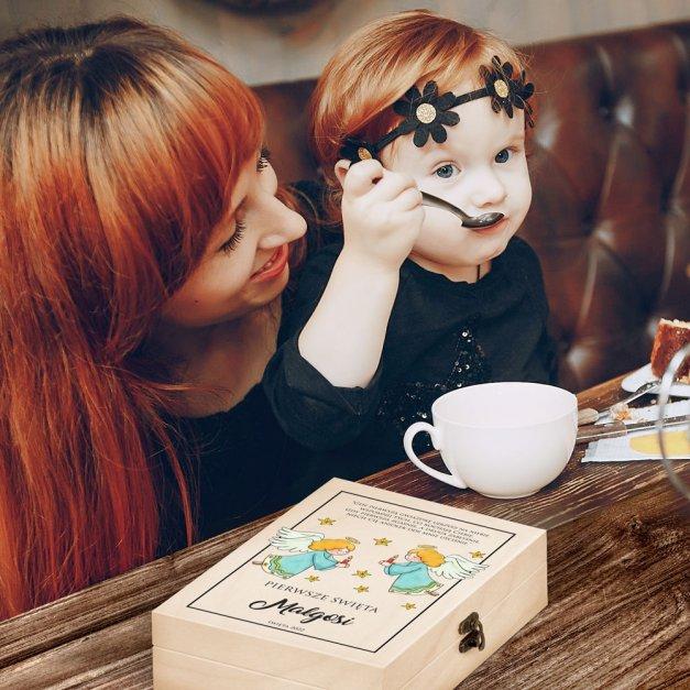 Zestaw Sztućców Dla Dzieci W Drewnianym Etui Nadruk Aniołki