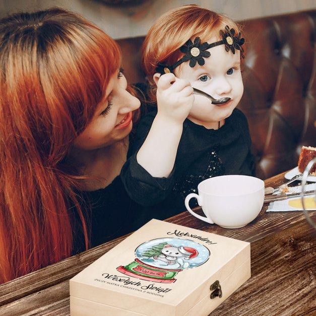 Zestaw Sztućców Dla Dzieci W Drewnianym Etui Nadruk Świąteczny Miś