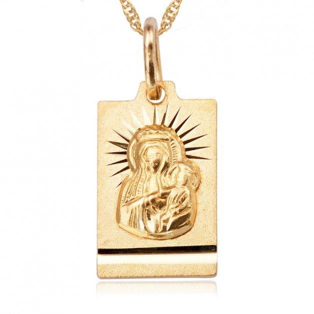 Złoty Medalik Matka Boska z Łańcuszkiem GRAWER ZZ69