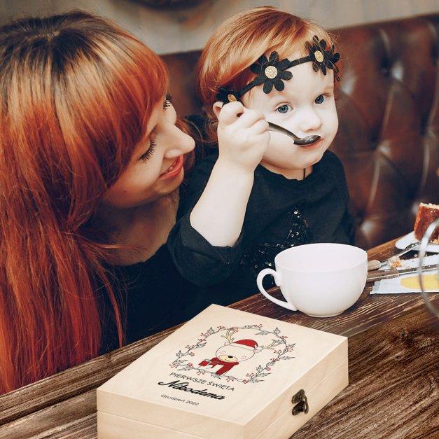 Zestaw Sztućców Dla Dzieci W Drewnianym Etui Nadruk Renifer Disney Mouse Myszka Minnie