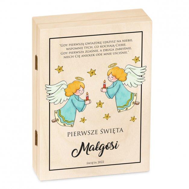 Zestaw Sztućców Dla Dzieci W Drewnianym Etui Nadruk Aniołki Disney Mouse Myszka Minnie
