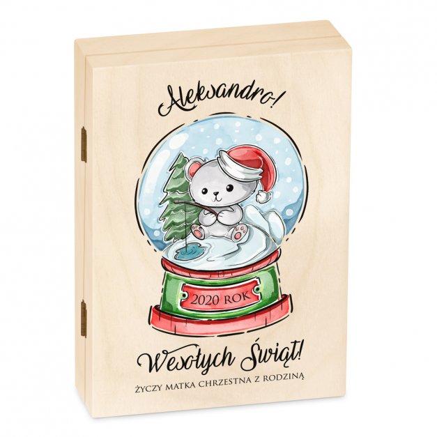Zestaw Sztućców Dla Dzieci W Drewnianym Etui Nadruk Świąteczny Miś Disney Mouse Myszka Minnie