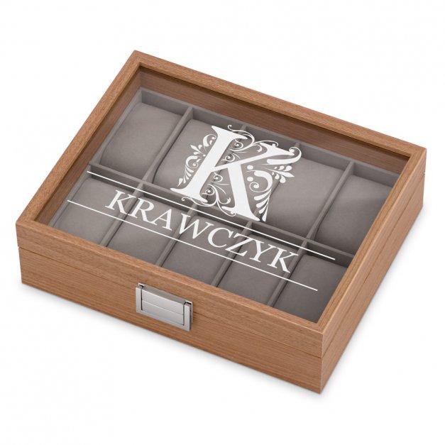 Drewniana Szkatułka Kuferek na Zegarki GRAWER Monogram