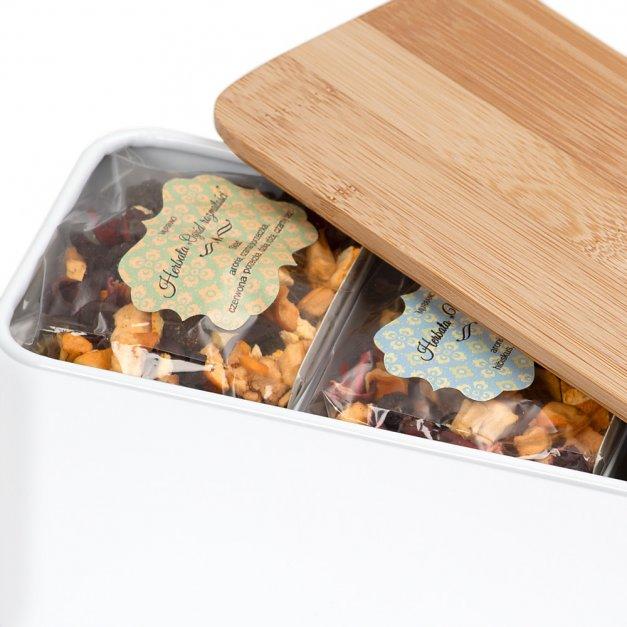 Zestaw Herbat w Metalowym Pudełku Nadruk Święta Renifery