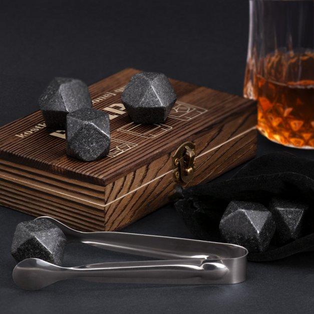 Kamienie do whisky kostki w drewnianym opakowaniu grawer Ulubiona Gra