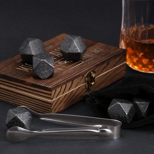 Kamienie do whisky kostki w drewnianym opakowaniu grawer Mieszanka Idealna
