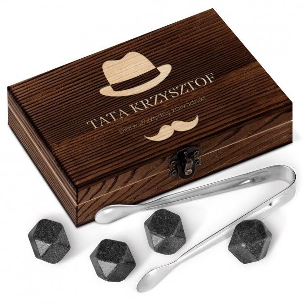 Kamienie do whisky kostki w drewnianym opakowaniu grawer Dla Taty