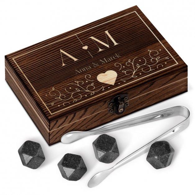 Kamienie do whisky kostki w drewnianym opakowaniu grawer Serce