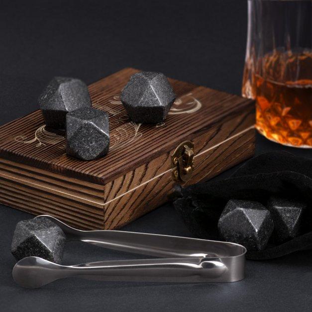 Kamienie do whisky kostki w drewnianym opakowaniu grawer Floral