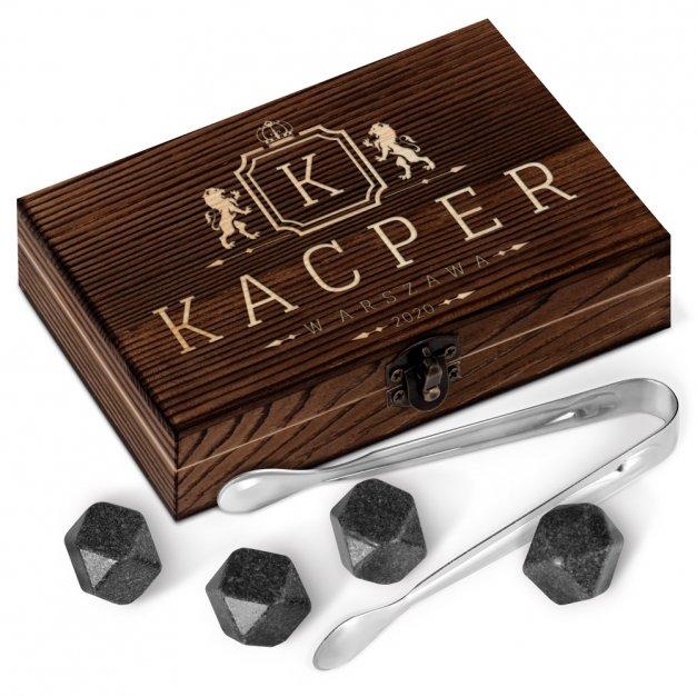 Kamienie do whisky kostki w drewnianym opakowaniu grawer Herb