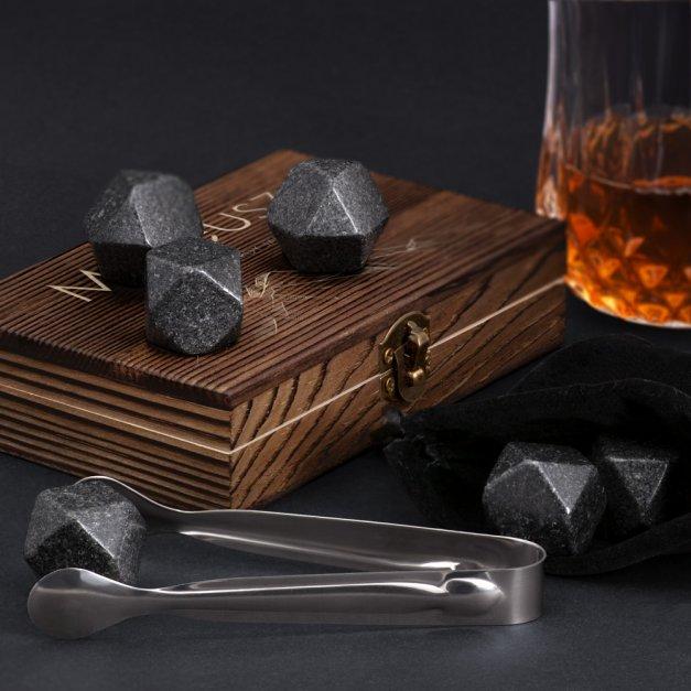 Kamienie do whisky kostki w drewnianym opakowaniu grawer Góry