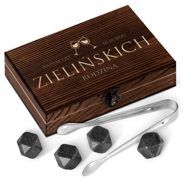 Kamienie do whisky kostki w drewnianym opakowaniu grawer Rocznica