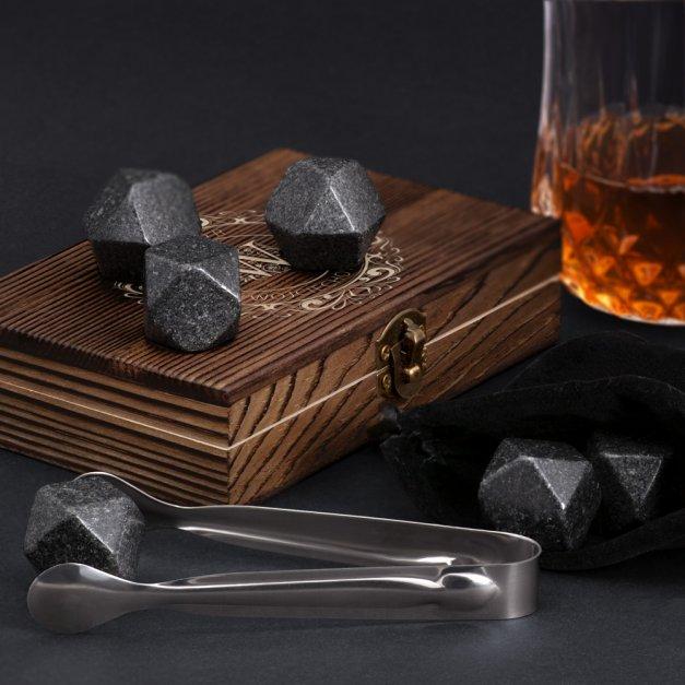 Kamienie do whisky kostki w drewnianym opakowaniu z grawerem dla niego