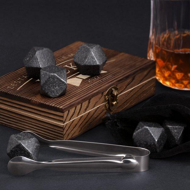 Kamienie do whisky kostki w drewnianym opakowaniu grawer Gentleman