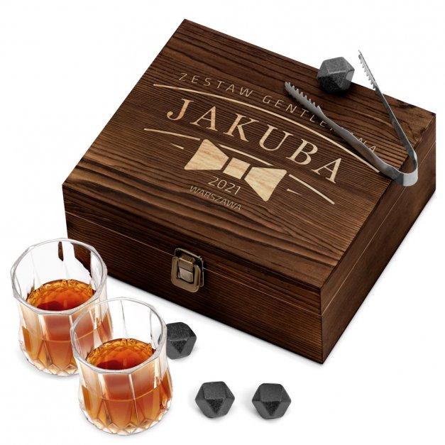 Kamienie do whisky kostki ze szklankami w drewnianym opakowaniu grawer Gentleman