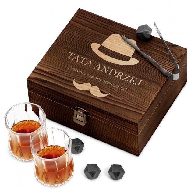 Kamienie do Whisky Kostki ze Szklankami w Drewnianym Opakowaniu Grawer dla Taty