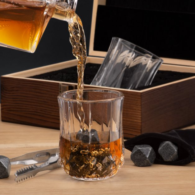 Kamienie do whisky kostki ze szklankami w drewnianym opakowaniu grawer Serce