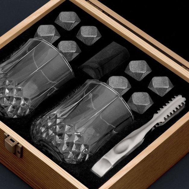 Kamienie do whisky kostki ze szklankami w drewnianym opakowaniu grawer Kotwica