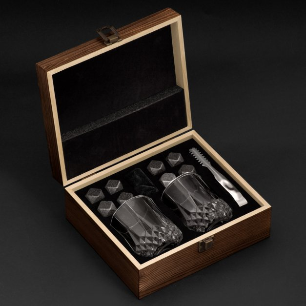 Kamienie do whisky kostki ze szklankami w drewnianym opakowaniu grawer Lew