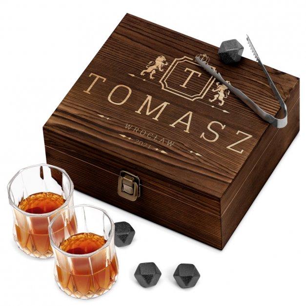 Kamienie do whisky kostki ze szklankami w drewnianym opakowaniu grawer Herb