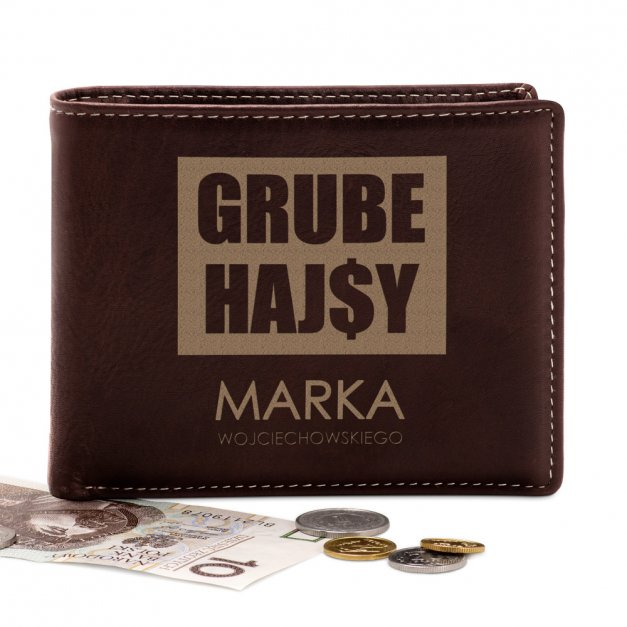 Skórzany Portfel Męski Premium z Grawerem Grube Hajsy