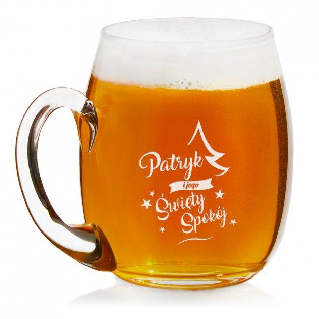 Grawerowany Kufel Szklany do Piwa Na Święta Choinka