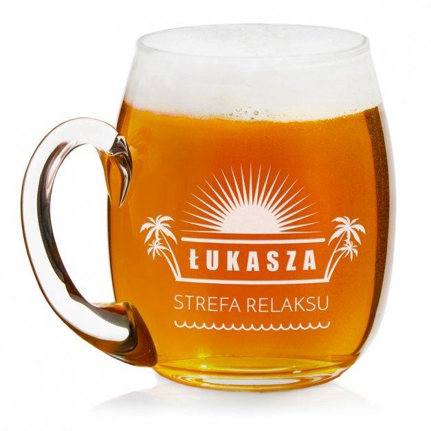 Kufel szklany do piwa z grawerem dla lenia piwosza