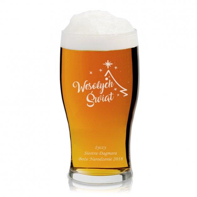 Grawerowany Kufel Szklany do Piwa Na Wesołe Święta