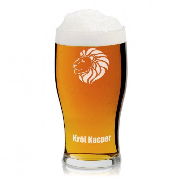 Kufel szklany szklanka do piwa z grawerem lew dla szefa