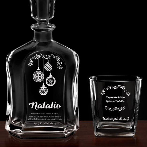 Karafka z 6 szklankami zestaw z grawerem dla niej na święta