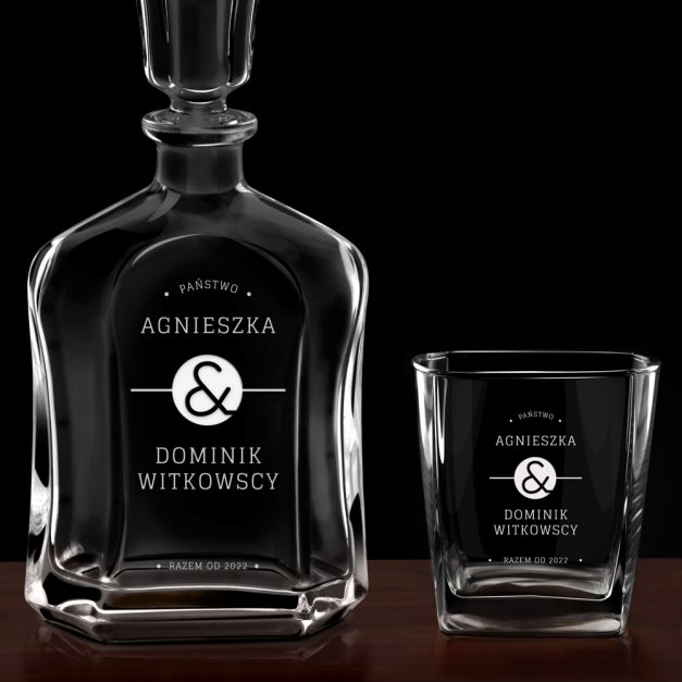Karafka z 6 szklankami zestaw z grawerem dla pary na ślub rocznicę