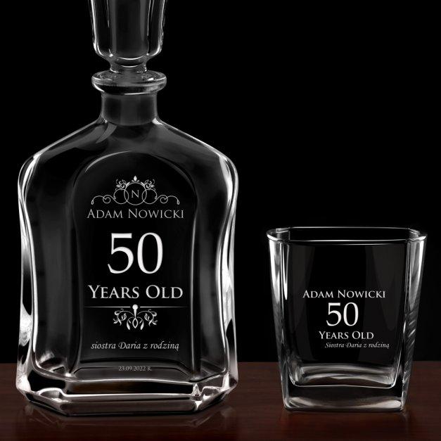 Karafka z 6 szklankami zestaw z grawerem dla niego na 50 urodziny