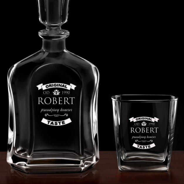 Karafka z 6 szklankami zestaw z grawerem dla konesera whisky na urodziny