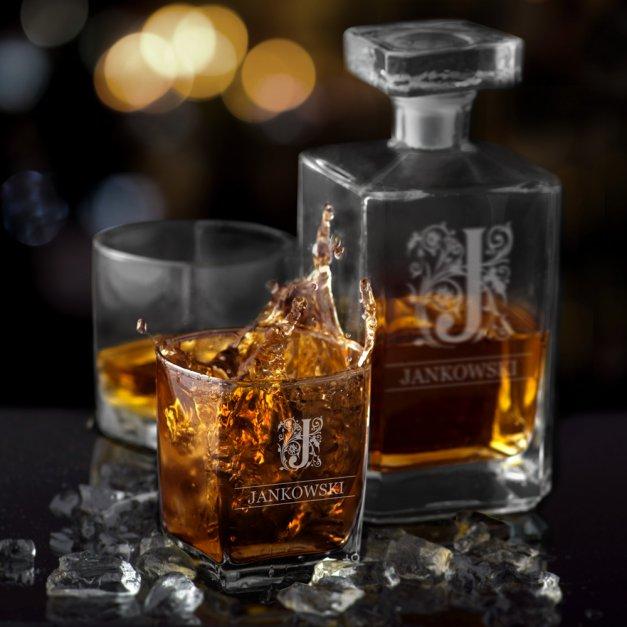 Zestaw Karafka Burbon z 6 Szklankami Grawer Ornament