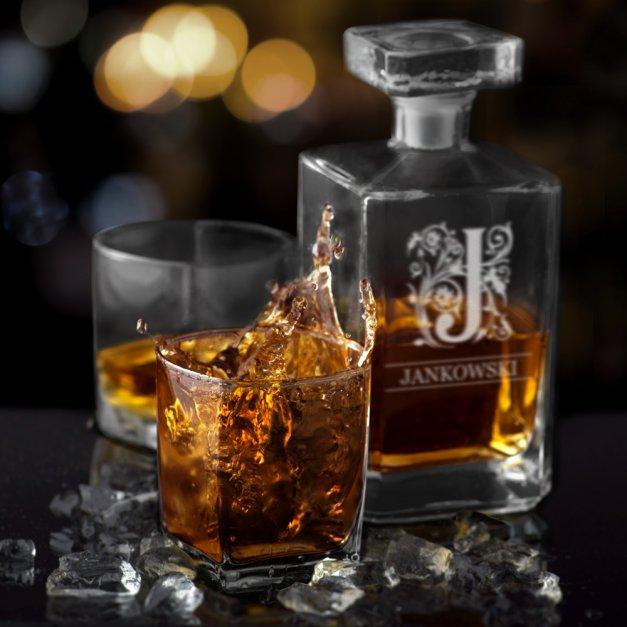 Karafka szklana burbon z grawerem dla gentlemana na urodziny