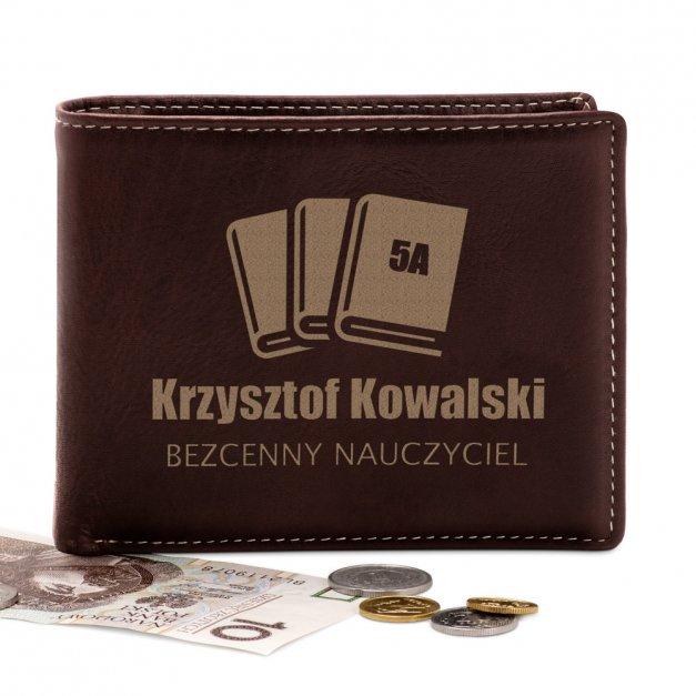Skórzany Portfel Męski Premium z Grawerem Książki