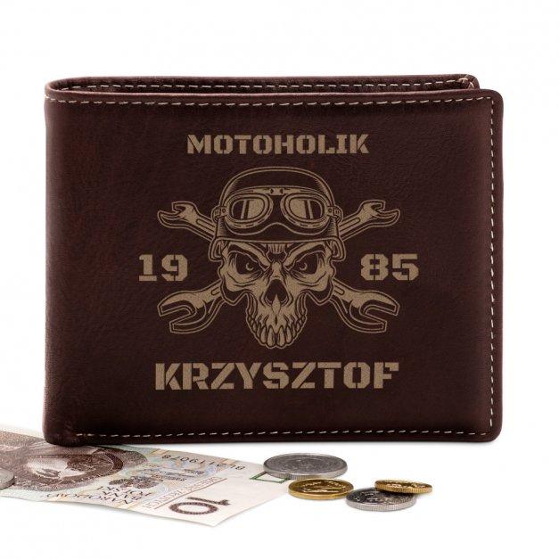 Skórzany Portfel Męski Premium z Grawerem Motoholik