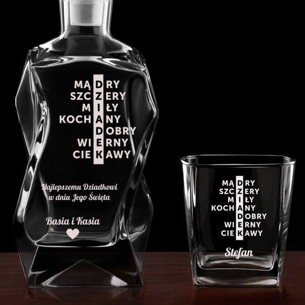 Karafka łamana zestaw z 6 szklankami grawer dla dziadka
