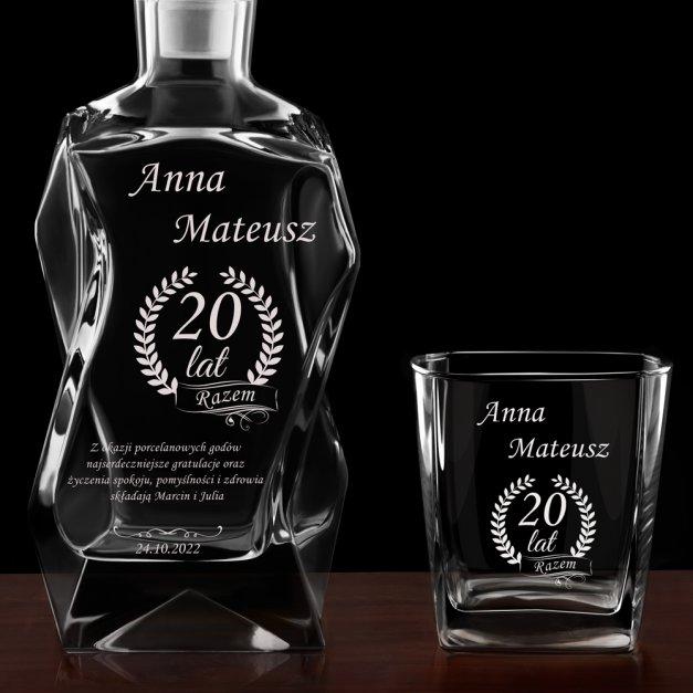 Karafka łamana zestaw z 6 szklankami grawer dla pary na 20 rocznicę
