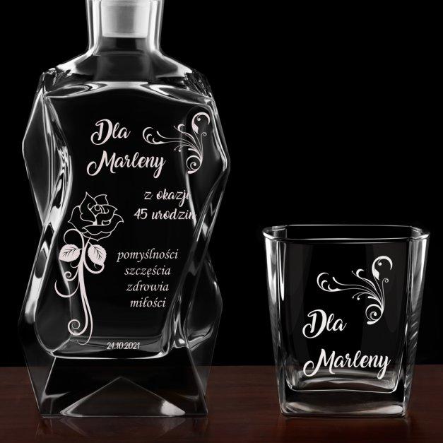 Karafka łamana zestaw z 6 szklankami grawer dla niej na 45 urodziny