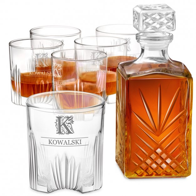 Karafka kryształowa do whisky z 6 szklankami zestaw z grawerem dla niego