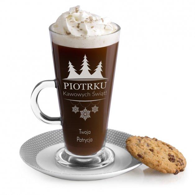 Grawerowana szklanka do Latte Na Święta Choinka