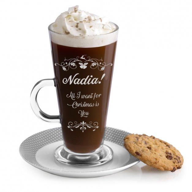 Grawerowana szklanka do Latte Na Święta