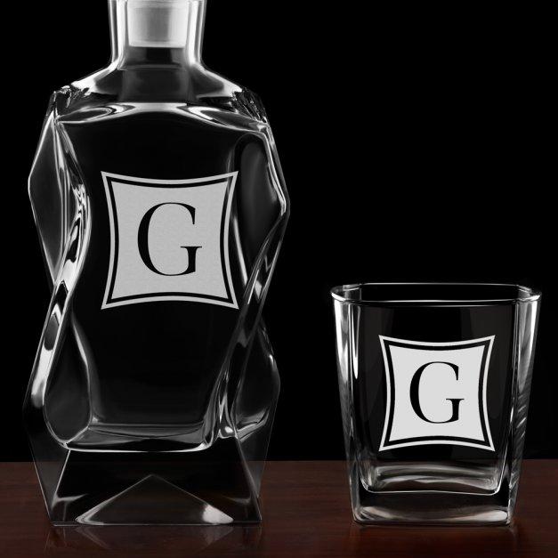 Karafka łamana zestaw z 6 szklankami grawer inicjał dla niej niego pary